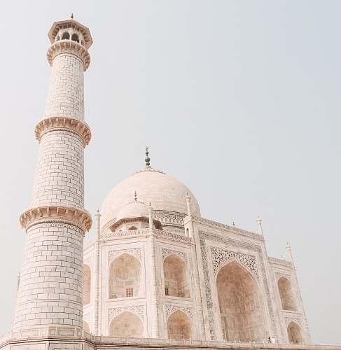 building Minaret Of Taj Mahal, Agra in India dome