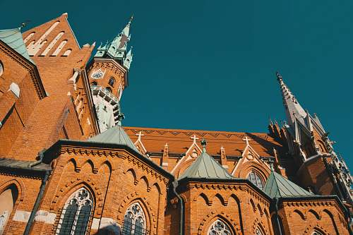 building orange and gray church tower