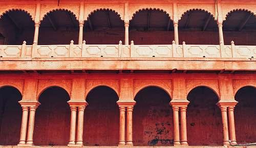 building orange concrete building with pillars india
