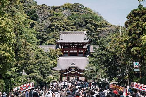 building people outside temple surrounded by trees shrine