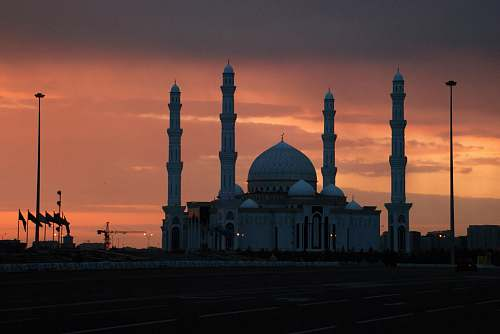 building photography of mosque during nighttime dome