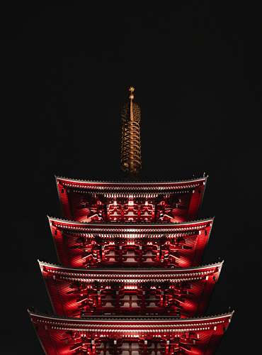 building red wooden temple pagoda