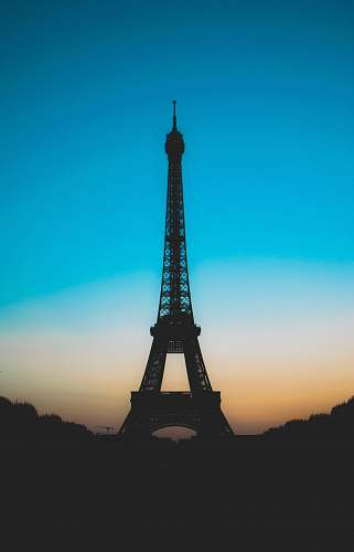 building silhouette of Eiffel tower tower