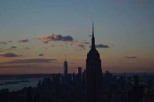 building silhouette of Empire State building spire
