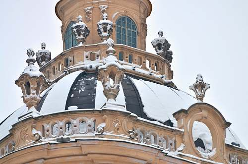 building snow covered brown building dome