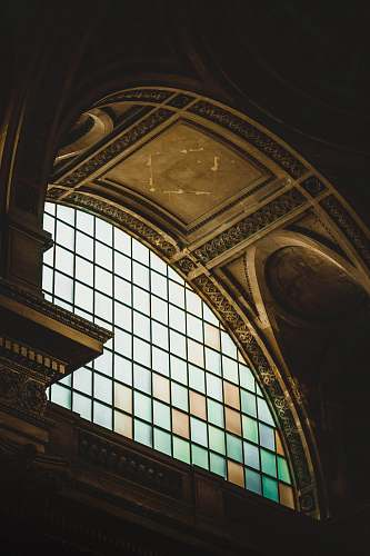 building stained glass inside building staircase