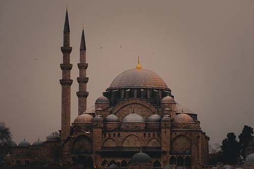 building Sultan Ahmed Mosque under gray skies dome