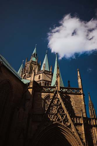 building view of church spires spire