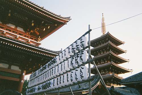 building white-and-black decors pagoda