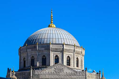 building white and teal dome structure dome