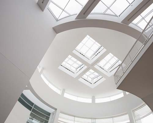 building worm's eye view of ceiling skylight