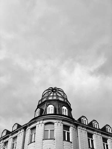 architecture grayscale photography of building building