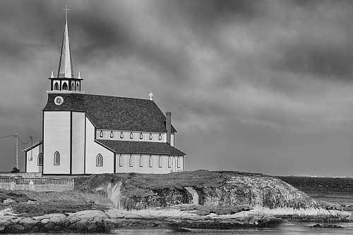 architecture church near sea black-and-white