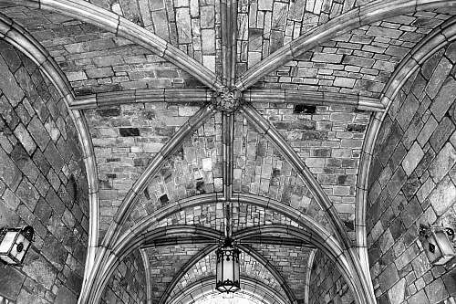 architecture grayscale photography of concrete ceiling black-and-white