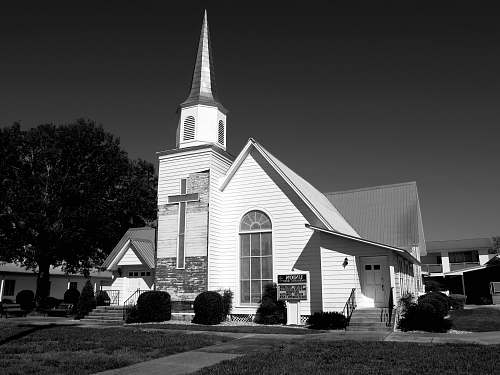 architecture grayscale photography of parish black-and-white