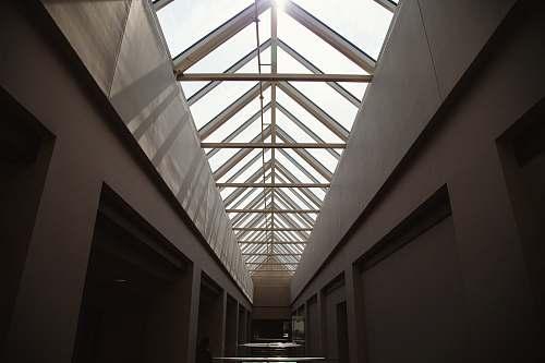 architecture landscape photography of white hallway skylight