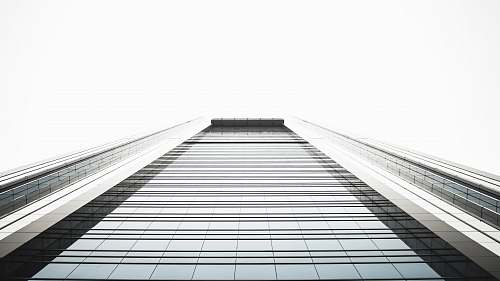 architecture low angle photography of highrise building black-and-white