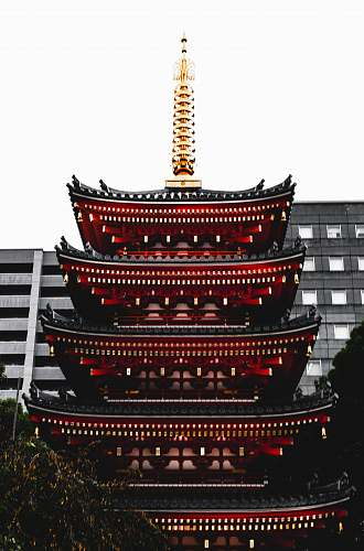 architecture shallow focus photo of black and red building pagoda