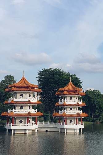 photo pagoda white-and-brown concrete temples on water temple free for commercial use images