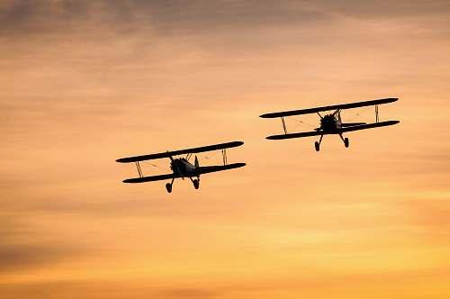 airplane two biplanes on flight biplane
