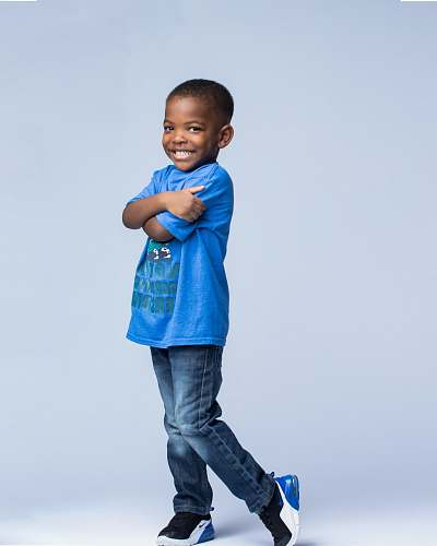 clothing boy wearing blue t-shirt and denim jeans pants