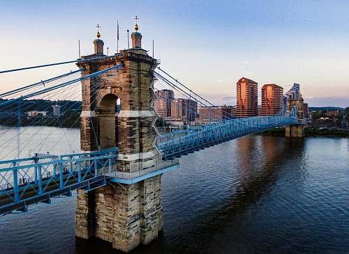 cincinnati brown and blue concrete bridge ohio