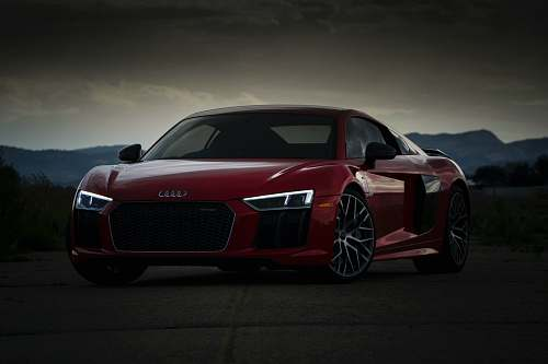 car red Audi coupe sports car