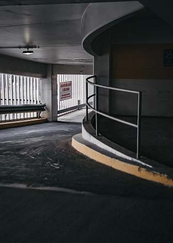 handrail empry hallway flooring