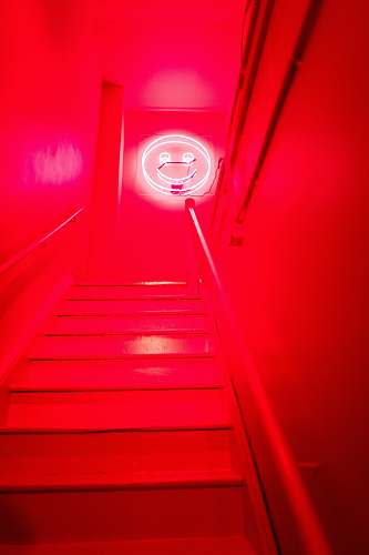 handrail red and white staircase with white light staircase