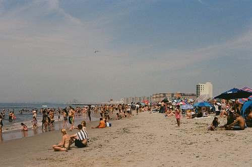 ocean people on beach at daytime sea