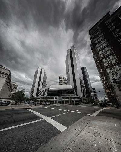 city grayscale photo of buildings and rodas skyscraper
