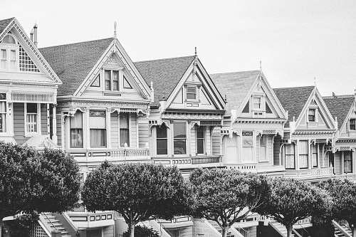 urban grayscale photo of house san francisco