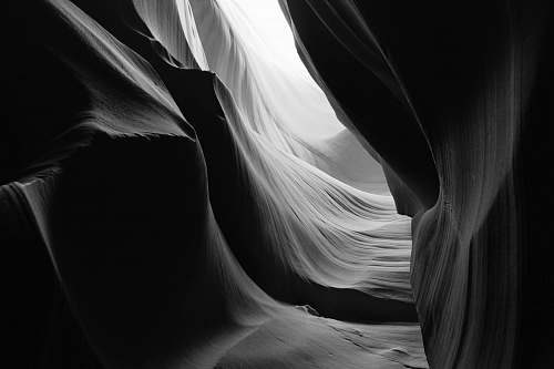 grey grayscale photo of landscape antelope canyon