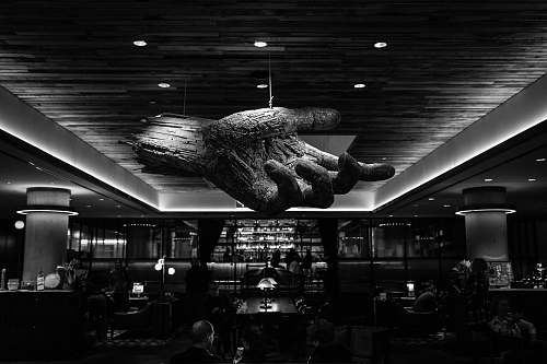 human grayscale photography of restaurant with 3D hand ceiling person