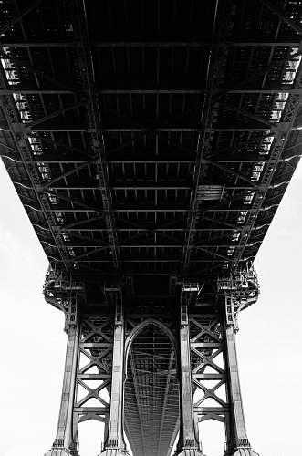 architecture grayscale photography of suspension bridge building