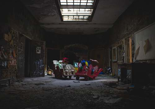 architecture A children's playroom in the abandoned building of the Rockland Psychiatric Center. skylight