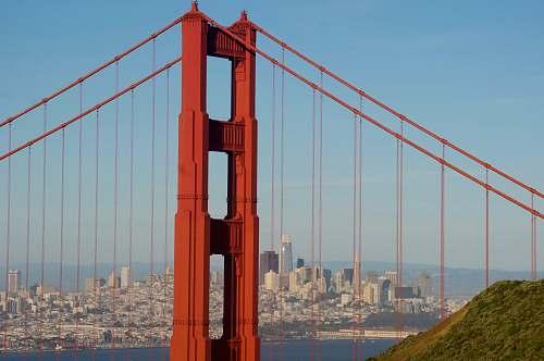bridge architectural photography of red bridge suspension bridge