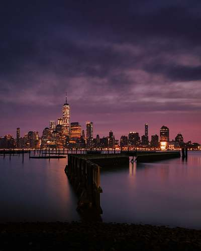 city city skyline showing lights new york