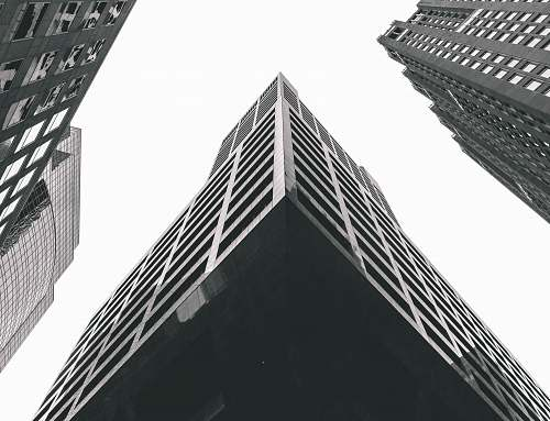 black-and-white gray concrete buildings architecture
