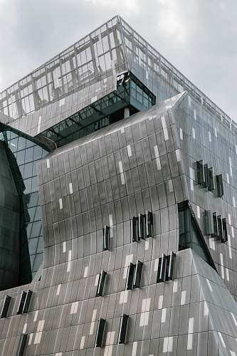 urban grey structure with glass windows grey