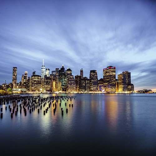 urban New York cityscape near body of water city