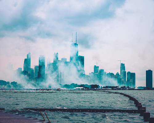 city photo of city covered with fogs chicago