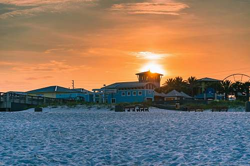 beach ship dock during sunset panama city beach
