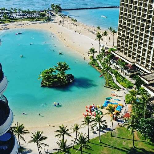 hotel top view of resort near beach during daytime beach