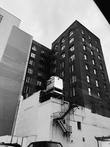 black-and-white white and black building city