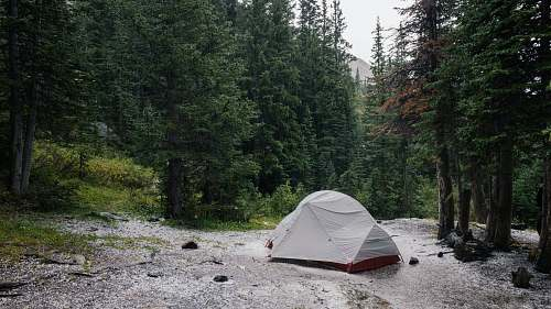 tent gray tent beside lake surrounded by trees leisure activities