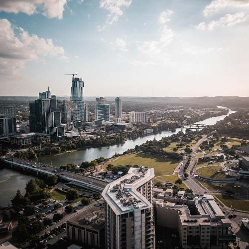 building aerial view of city austin