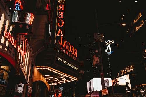 night Regal Cinemas building theater district