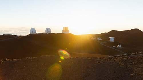 light sunset on mountain maunakea