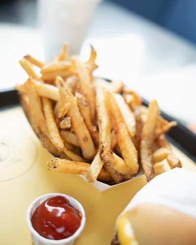 photo fries potato fries with tomato sauce dip fast food free for commercial use images